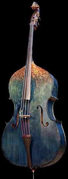 Wulter Bass refurbished dyed indigo and half gilded in copper leaf - rather spectacular --- https://www.pinterest.com/lardyfatboy/ Confira aqui http://mundodemusicas.com/lojas-instrumentos/ as melhores lojas online de Instrumentos Musicais.