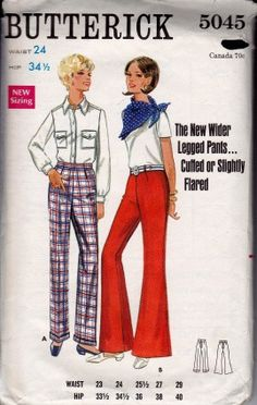 Butterick 5045 Ladies Bell Bottom Flared Pants Vintage 1960's Sewing Pattern #1960s #butterick #ladies #pants #vintage #patterns #sewing #retro #vintagestitching