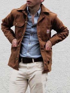 Men's Fashion: Brown Jacket, Blue Shirt, Cream Pants / Chinos & Black Belt.