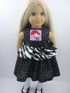 Hello Kitty Doll Dress, Sash, Stockings and Shoes for the American Girl Doll