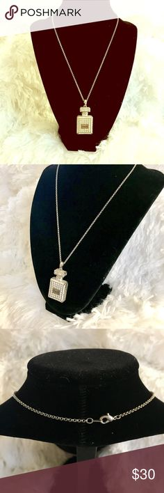 Chanel Bling Necklace Vintage Chanel perfume bottle inspired fashion bling necklace in a silver tone. Excellent piece!!! Jewelry Necklaces
