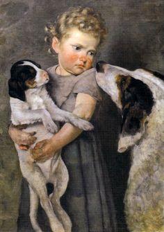 Italian Painter:  Achille Glisenti (1848 - 1906),  'Bambina con caniBambina con cani (Girl With Dogs)'