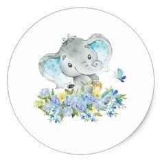 Shop Elephant Jungle Animals Baby Boy Shower Favor Classic Round Sticker created by invitationstop. Recuerdos Baby Shower Niña, Baby Shower Favors, Baby Boy Shower, Baby Shower Decorations, Baby Boys, Baby Shawer, Happy Elephant, Elephant Theme, Elephant Baby Boy