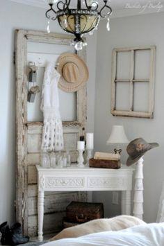 Great decor idea using repurposed door and window frame.