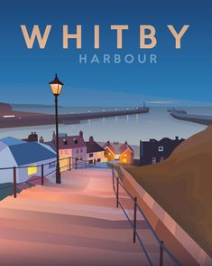 Whitby Vintage Travel Poster with words 'Whitby Harbour'Frame not includedShips in 2 working days #vintagetravelposters