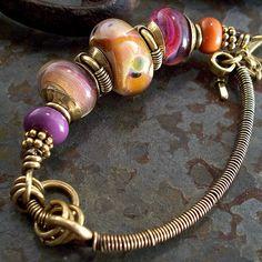 orange and purple lampwork bracelet 019
