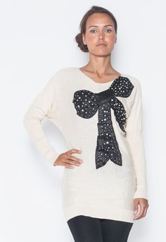 Ivory Diamond Studded Bow Sweater// #ustrendy #ivory #sweater #diamond #bow #fallfashion