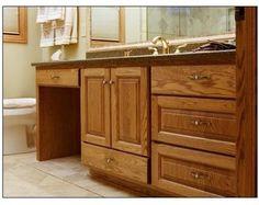 Oak Vanity w/ dressing table traditional-bathroom