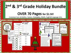 2nd & 3rd Grade Holiday Bundle! Over 70 pages! Common Core Lessons, Games, and Printables Answer Keys included! GREAT DEAL for $2.50! Find more at Lollipop Learning! All products under $3