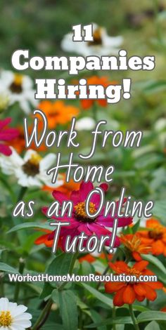 11 Companies Hiring!  Work from Home  as an Online Tutor!  Online tutoring is a great way to make money from home! If you've been looking for a flexible work at home career, then home-based tutoring might be perfect for you! Many companies allow you to set your own hours. WorkatHomeMomRevo...