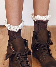Love this Taupe Cable-Knit Lace-Accent Boot Cuffs on #zulily! #zulilyfinds