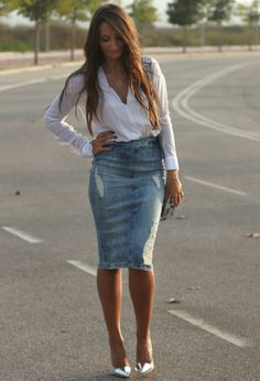 Denim Midi Skirt | Chicisimo
