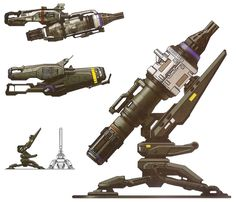 An altered transparent scan of a mounted Missile Pod, a heavy weapon used by UNSC forces against Covenant vehicles like Scarabs or Banshees. Here, a ground mounted Missile Pod, and . Sci Fi Weapons, Weapon Concept Art, Fantasy Weapons, Tower Defense, Unsc Halo, Arsenal, Futuristic Armour, Future Weapons, Military Weapons