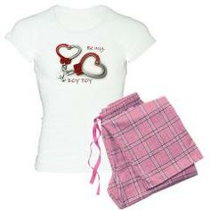 Boy Toy Valentine Heartcuffs Pajamas > Product Information    •Women's Pajama Set •Unisex bottom is 100% cotton (4 oz) & has no fly and no pockets •Black Plaid, Pink Plaid and Lumberjack prints in Cotton Flannel. Other prints in Cotton Jersey •T-shirt is 100% cotton (4.5 oz) with a fitted, longer length to complement your curves •Machine Wash Cold > Boy Toy Casual Wear and Gifts