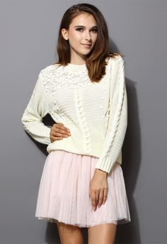 Crochet Floral White Sweater