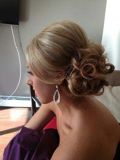 Side curls in bun. Updo