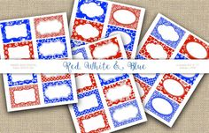 Red White & Blue Labels Printable tags Digital by 1stChoiceShop