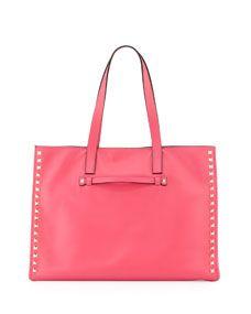 Rockstud Medium Soft Square Tote Bag, Pink