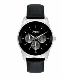 Caravelle by Bulova Men's 43C109 Multifunction leather strap Watch Caravelle by Bulova. $89.99. Black dial. Quartz movement. Leather strap. Water resistant to 30 meters. Flat mineral crystal. Save 25% Off!