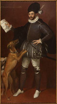 Bartolomeo Passarotti, Italian, Portrait of a Cavalier with His Hunting Dogs, ca. 1570-1580,15th century, 16th century. Doublet, Cape, Capelet, Romeo, revels, faire, Elizabethan, Tudor, Renaissance
