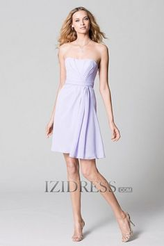 Sheath/Column Strapless Chiffon Bridesmaids Dress - IZIDRESS.com in blue