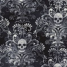 Wicked Eve Skull Damask in Charcoal by LoveEllieBagMaking