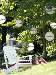 4th of July decorations (recycle the wedding lanterns...?)@Darice Stone Tuttle - Do you still have some of those lanterns I gave you?  Just get a marker or some ribbon and glue on.  So cute on your Patio!