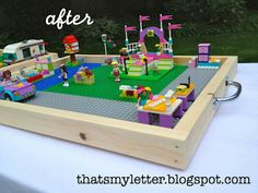 Make your own portable Lego Tray- genius-  Harry would love this!