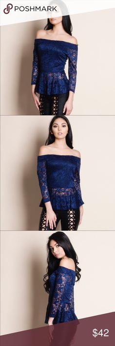 Navy Blue Lace Off Shoulder Top Navy Blue lace off the shoulder top. 100% polyester. No trades. Price firm unless bundled. Bundle and save 5% on 3+ items or more. Tops Blouses