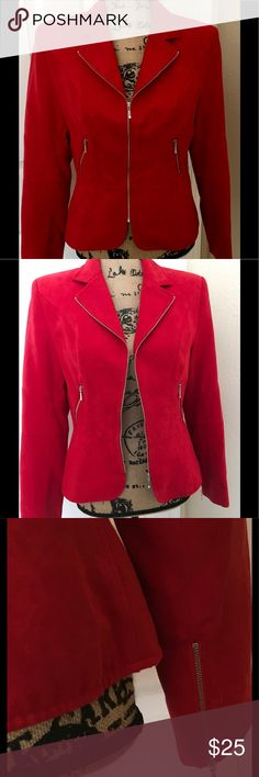 """Conrad C Collection RED jacket size 6 This is a gorgeous red jacket from Conrad C Collection. Great for the fall season. In great condition and all zippers work like new😁 As you can see in the photos there are three zippers in the front including the 2 pocket ones and two on the sleeves. Bust is 15"""" length is 22"""" and sleeves are 23"""".   100% polyester LC Lauren Conrad Jackets & Coats"""