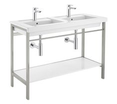 The Prisma Metal Structure Base Unit from Roca comes in stainless steel finish. Suitable for floor mounted Installation. Small Bathroom Furniture, Shared Bathroom, Drawer Unit, Metal Structure, Vanity Units, Towel Rail, A Shelf, White Ceramics, Storage Spaces