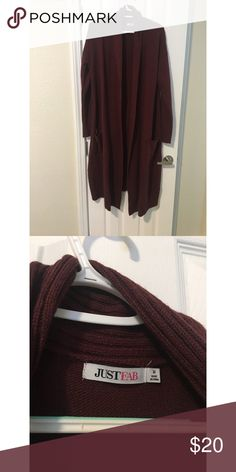 Burgundy Duster Cardigan Burgundy Duster Cardigan  Has pockets  From JustFab Only worn a couple times JustFab Sweaters Cardigans