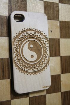 milkyway - W160 GENUINE WOOD Organic Snap On Case Cover for APPLE IPHONE 5C - TRIBAL YIN YANG