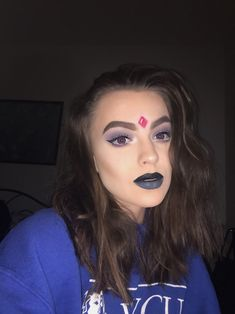 Raven from teen titans inspired makeup *instagram: @plops.s* Raven Teen Titans Cosplay, Raven Teen Titans Go, Costume Makeup, Cosplay Costumes, Makeup Inspiration, Makeup Ideas, Raven Costume, Halloween Costumes, Halloween Face Makeup