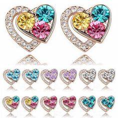 1 Pair Fashion Women  Charm Heart Austrian Crystal Pierced Earrings Accessory  #New #Fashion