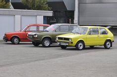 Golf Mk I and three prototypes from 1974