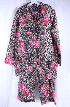 NICK & NORA Size XXL Jungle Rose Leopard Cheetah Pajama Set Pants And Top…