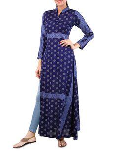 79e62585c25 Buy Dessara dark blue printed modal side slit long kurta Online