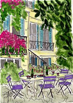 Provence... French Wine Courtyard by Fifi Flowers