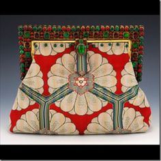 India Deco : Antique glass handset jewel frame, circa 1920. Antique woven silk textile with unusual deco pattern.