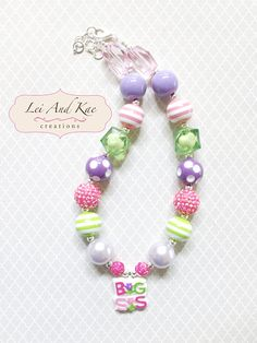 Big Sister Pink Purple Green Chunky Bubble Gum Necklace - Photo Prop Fashion Accessory