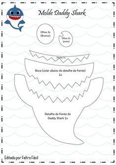 Baby Shower Songs Baby shark with felt and eva printing mold - How do I Shark Birthday Cakes, Boy Birthday Parties, Baby Birthday, Birthday Ideas, Baby Shower Songs, Baby Hai, Shark Party Decorations, Baby Shark Doo Doo, Partys