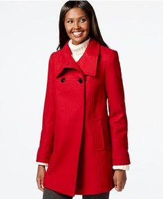 Larry Levine Flyaway Wool Walker Coat poly/wool red, heather grey, stone heather, black szS 32L 129.99 Sale thru 12/20 15%off thru 11/22 (110.49)