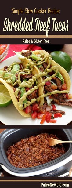 Fall-apart-good spicy roast beef fused with incredible flavors. Shred for tacos or a salad. Includes paleo tortillas and topping links. #paleo #glutenfree