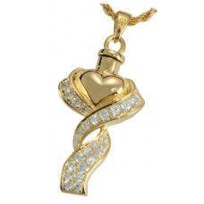 Gold Ribbon Heart Keepsake Urn Necklace