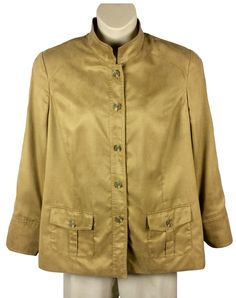 e0dca456691 Womens Coldwater Creek Button Down Shirt Size 20 Light Brown Two Pockets  L S