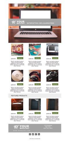 Muestra a tus destinatarios que tienes los mejores productos al mejor precio gracias a las plantillas newsletter de venta al por mayor.