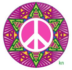 ✌Peace Sign Sun __[Peace sign Art by KN] #cPinks #cPurples #cGreens