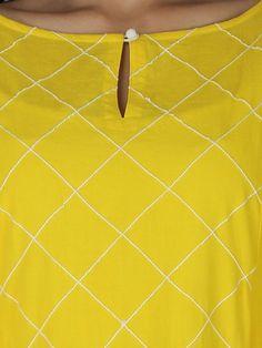 Yellow Cotton KurtaTo place order DM us or whatsapp on 6394837380 Churidhar Neck Designs, Churidhar Designs, Salwar Neck Designs, Neck Designs For Suits, Kurta Neck Design, Neckline Designs, Kurta Designs Women, Blouse Neck Designs, Kurti Sleeves Design