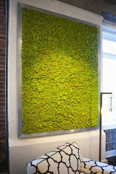 Spring green preserved moss placed in a zinc frame. This item is custom made to ANY size you need for your space! Production time is 4-6 weeks for this item, please call to order. FREIGHT BILLED SEPAR